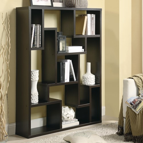 Coaster Bookcases Cappuccino Asymmetrical Bookshelf