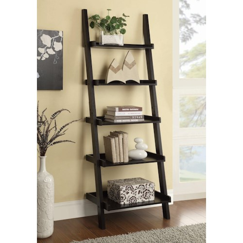 Coaster Bookcases Cappuccino Ladder Bookcase with 5 Shelves