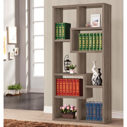 Coaster Bookcases Multiple Cubed Rectangular Bookcase, Weathered Grey