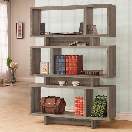 Coaster Bookcases Contemporary Weathered Grey Open Bookcase