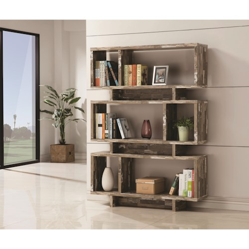 Coaster Bookcases Open Bookcase with Distressed Wood Finish