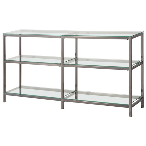 Coaster Bookcases Industrial Metal Bookcase/Console with Glass Shelves