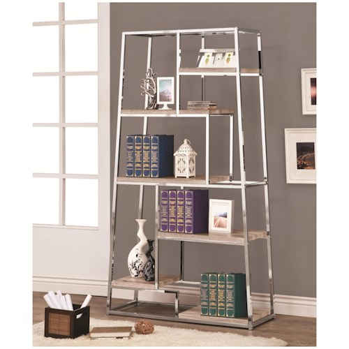 Coaster Bookcases Tapered Chrome Bookshelf with Staggered Wood Shelves