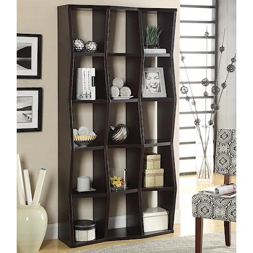 Coaster Bookcases Contemporary Bookshelf with Asymmetrical Shelves