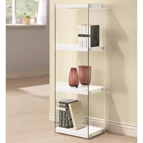 Coaster Bookcases Contemporary Three Shelf Bookcase with Glass Shelves and Side Panels