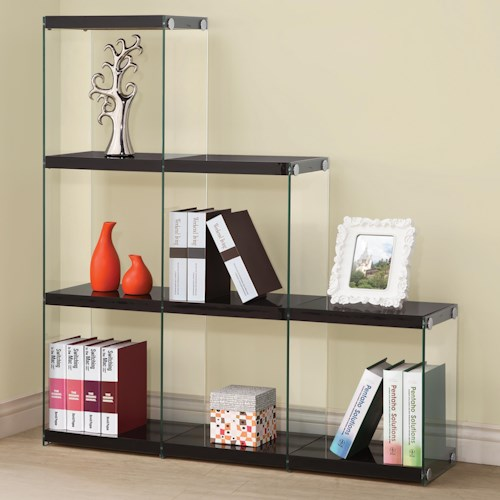 Coaster Bookcases Glossy Black Bookcase with Glass Sides