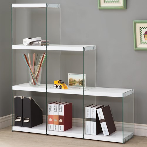 Coaster Bookcases Glossy White Bookcase with Glass Sides