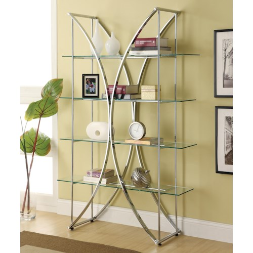 Coaster Bookcases X-Motif Chrome Finish Bookshelf with Floating Style Glass Shelves