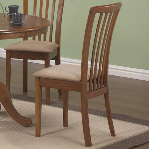 Coaster Brannan Slat Back Side Chair with Upholstered Seat