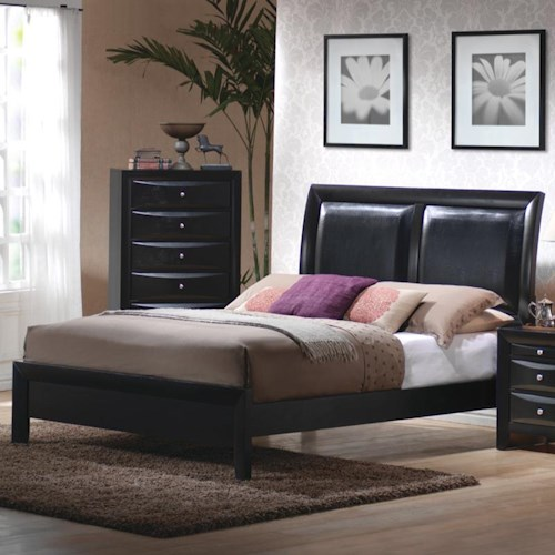 Coaster Briana California King Low Profile Footboard Bed with Upholstered Panel Headboard