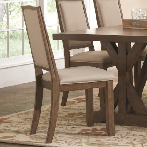 Coaster Bridgeport Rustic Solid Wood Upholstered Side Chair
