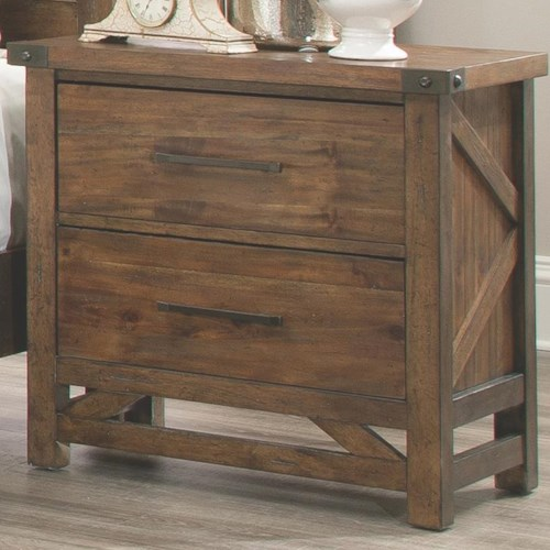 Coaster Bridgeport Nightstand with 2 Drawers and Rivet Details