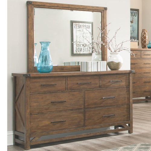 Coaster Bridgeport Dresser with 7 Drawers and Block Feet with Mirror