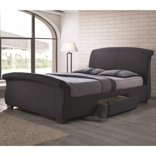 Coaster Bristol Fully Upholstered King Bed with 2 Underbed Drawers
