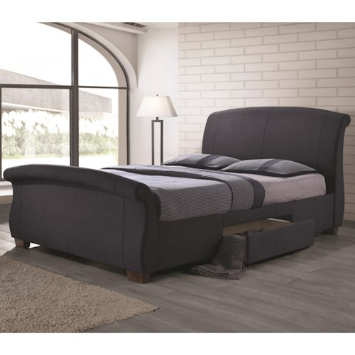 Coaster Bristol Fully Upholstered California King Bed with 2 Underbed Drawers