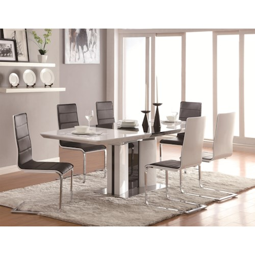 Coaster Broderick Contemporary 7 Piece White Dining Table Set with Upholstered Dining Chairs and Chrome Base