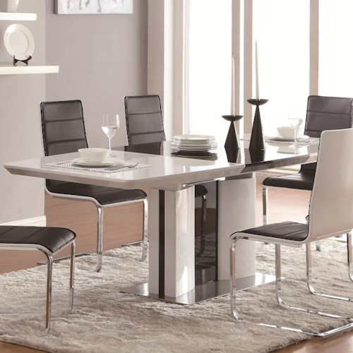 Coaster Broderick Contemporary White Rectangular Dining Table with Chrome Base