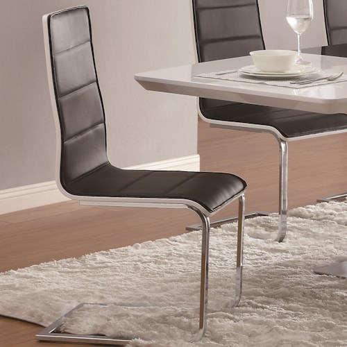 Coaster Broderick Contemporary Dining Side Chair with Upholstered Faux Black Seats and Chrome Legs