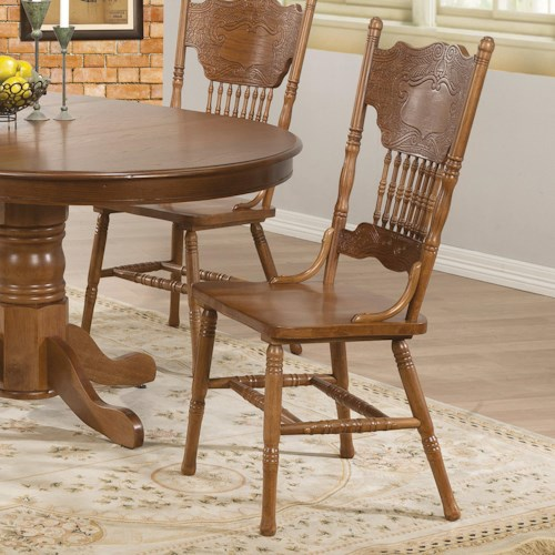 Coaster Brooks Country Oak Finish Side Chair with Turned Spindles