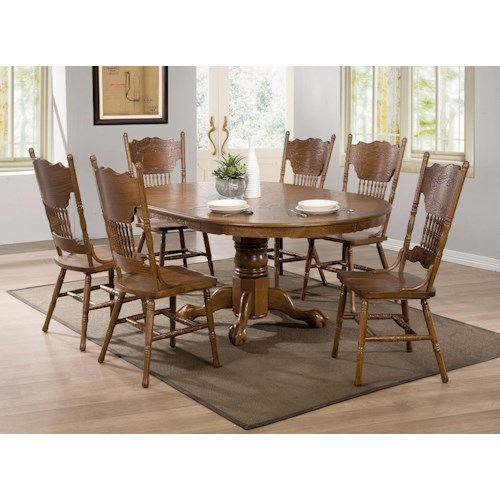 Coaster Brooks 7 Piece Table Set with Oak Finish Round/Oval Table