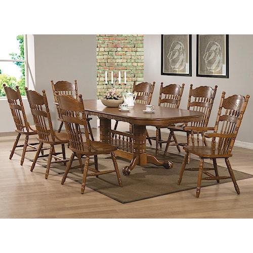 Coaster Brooks 9 Piece Table Set with Oak Finish Oval Trestle Table