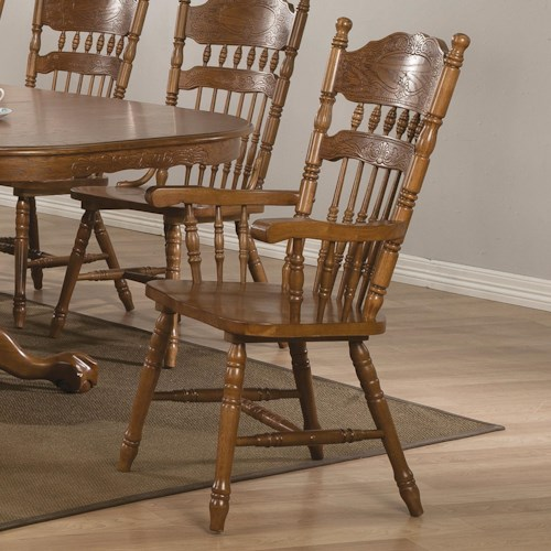 Coaster Brooks Country Oak Finish Arm Chair with Turned Spindles