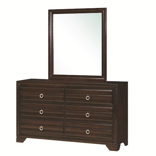 Coaster Bryce 20347 6-Drawer Dresser and Rectangular Mirror with Wooden Frame Combination