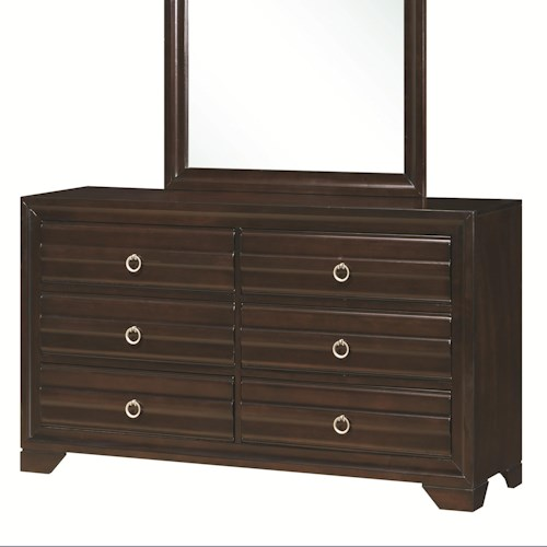 Coaster Bryce 20347 6-Drawer Dresser with Silver-Brushed Hardware
