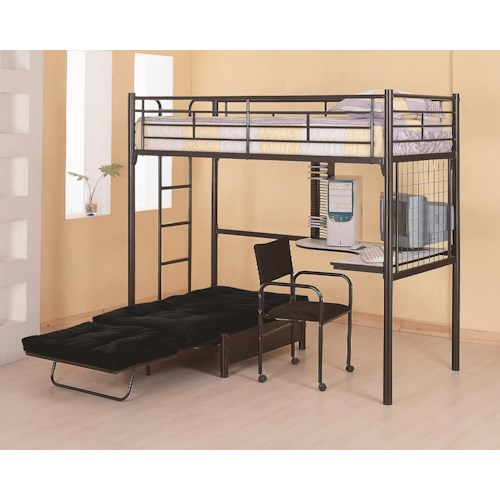 Coaster Bunks Twin Loft Bunk Bed with Futon Chair & Desk