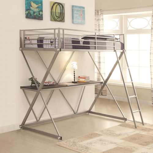 Coaster Bunks Twin Workstation Loft Bed with Desk