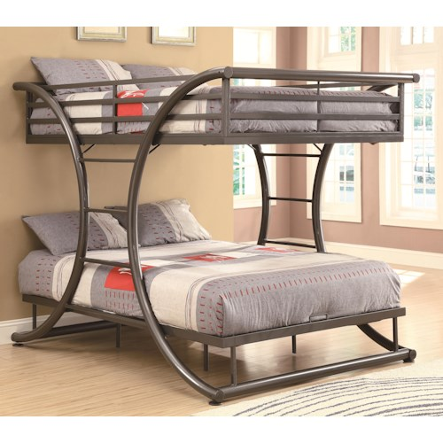 Coaster Bunks Full-over-Full Contemporary Bunk Bed