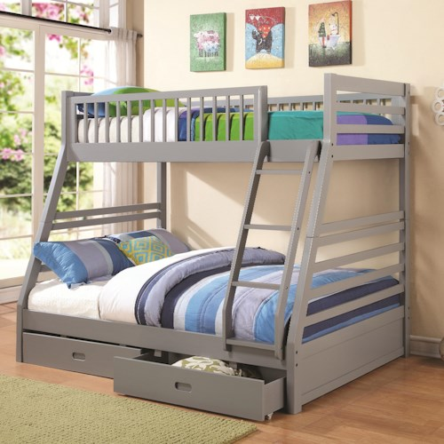 Coaster Bunks Twin over Full Bunk Bed with 2 Drawers and Attached Ladder