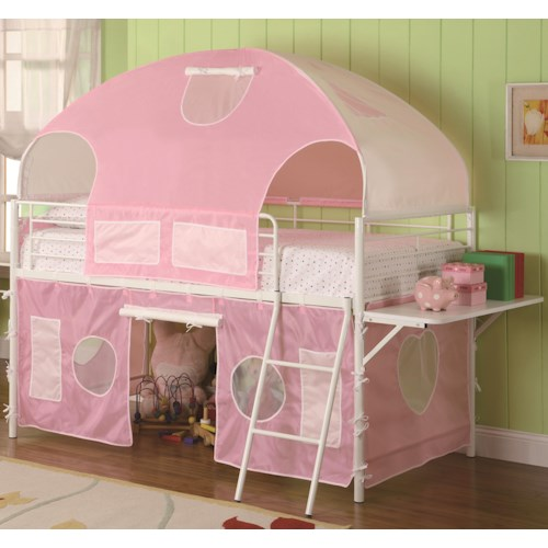 Coaster Bunks White & Pink Tent Bunk Bed