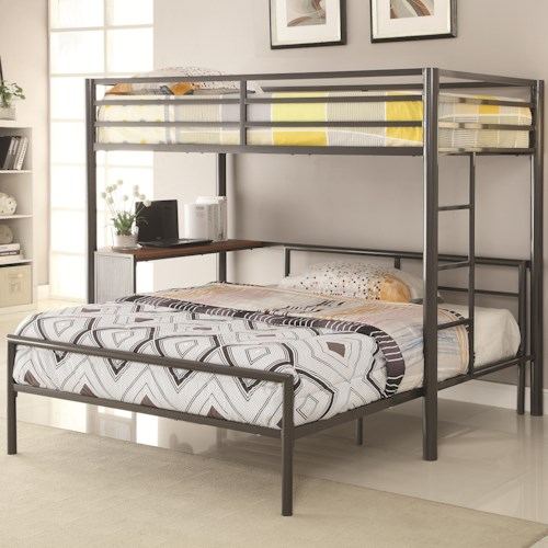 Coaster Bunks Metal Twin-over-Full Workstation Loft Bed