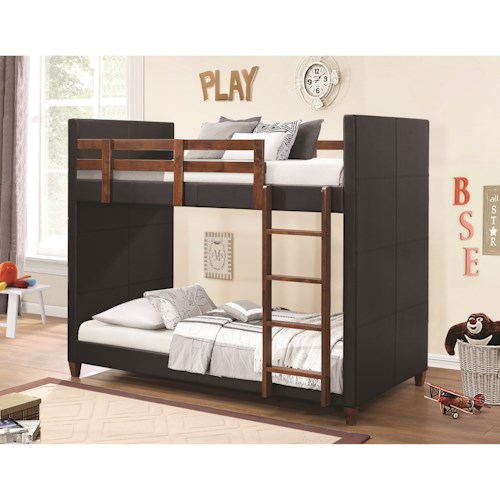 Coaster Bunks Twin-over-Twin Bunk Bed with Black Leatherette