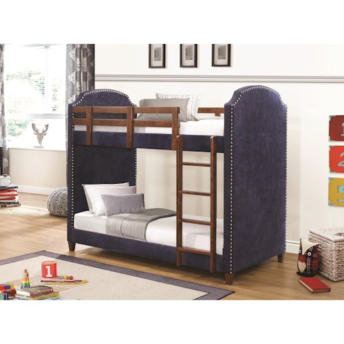 Coaster Bunks Navy Twin-over-Twin Bunk Bed with Nailhead Trim