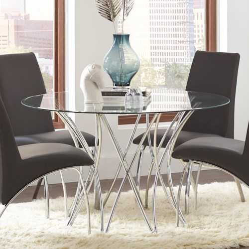 Coaster Cabianca Contemporary Round Glass Dining Table