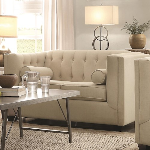 Coaster Cairns Upholstered Love Seat with Tufting