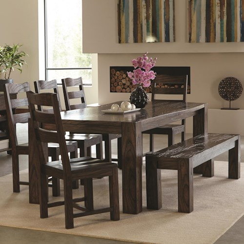 Coaster Calabasas Contemporary 7 Piece Table & Chair Set with Wavy Wood Grain