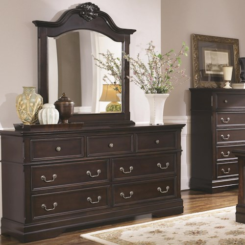 Coaster Cambridge 7 Drawer Dresser and Arched Mirror Set with Shell Carving