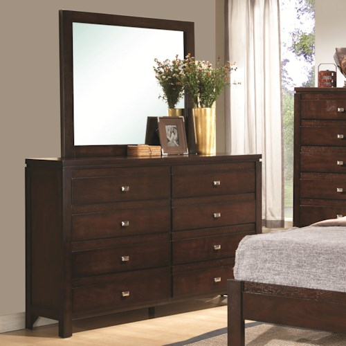 Coaster Cameron 8-Drawer Dresser and Square Mirror Combination