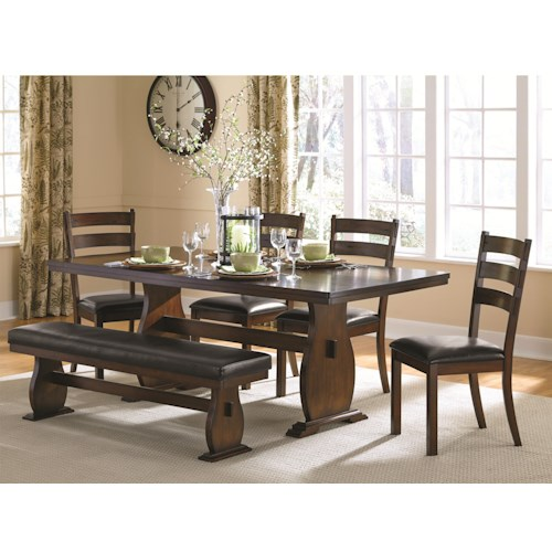 Coaster Campbell Trestle Table with 4 Side Chairs and Dining Bench