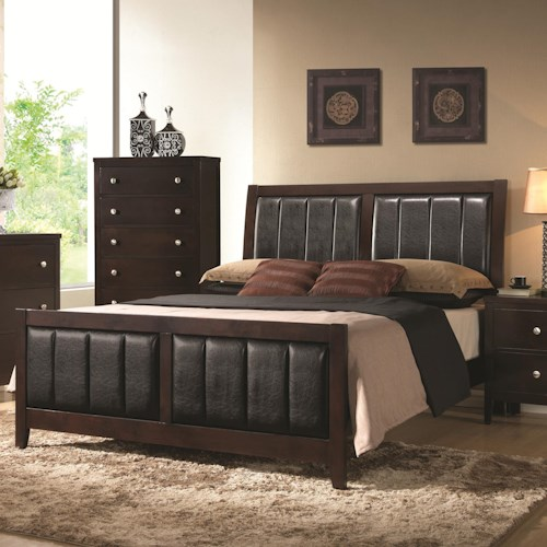 Coaster Carlton Upholstered California King Bed with Paneled Upholstery