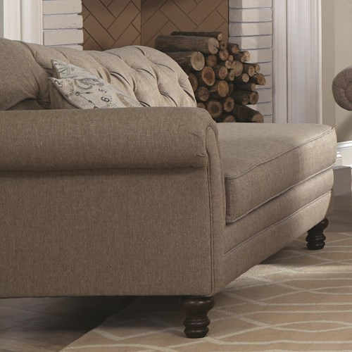 Coaster Carnahan Traditional Chaise with Single Arm and Tufted Back