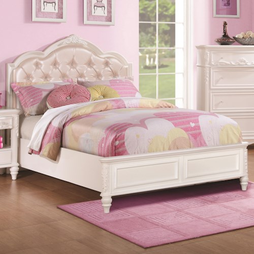 Coaster Caroline Twin Size Bed w/ Diamond Tufted Headboard