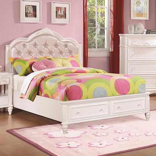 Coaster Caroline Twin Size Storage Bed w/ Diamond Tufted Headboard