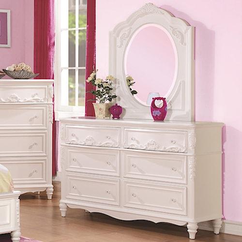 Coaster Caroline Decorative 6 Drawer Dresser & Mirror Set