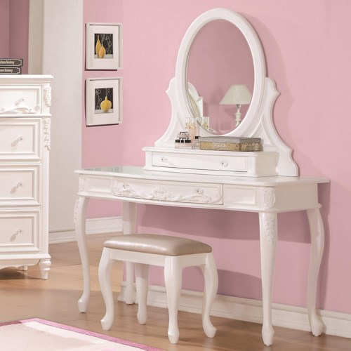 Coaster Caroline Vanity Desk & Mirror with Cabriole Legs