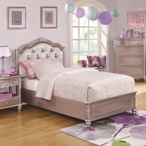 Coaster Caroline Full Size Bed w/ Diamond Tufted Headboard