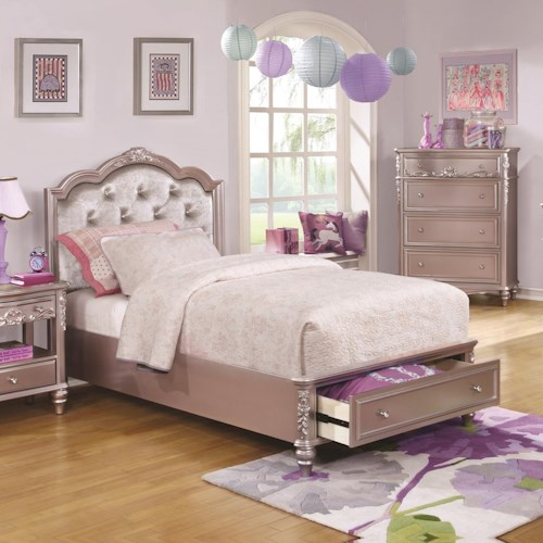 Coaster Caroline Queen Size Storage Bed w/ Diamond Tufted Headboard